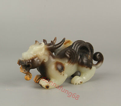 Chinese Exquisite Hand-carved Kirin Carving Hetian jade statue