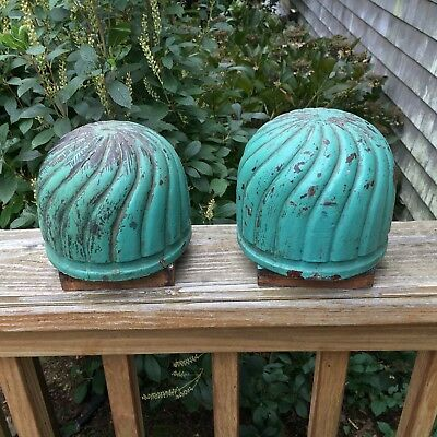 Antique Pair Green Painted Turned Carved Wooden Finials Architectural Salvage