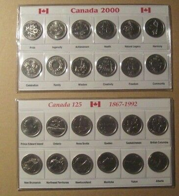 CANADA  1992 & 2000 25c 12 coins complete Set Collection Unc LOT OF 2