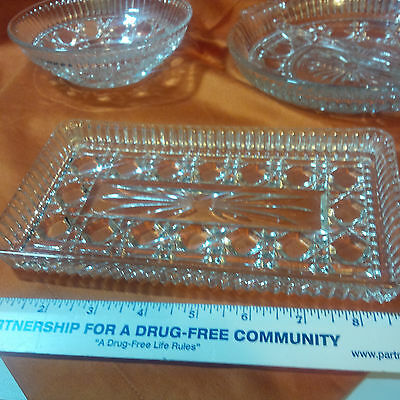 Starburst Pattern Clear Glass Lot Of 3  Vintage  Faceted Mint (C-4)