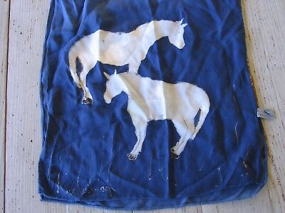 Vintage Women's 100% Silk Scarf Hand painted Horses Royal Blue Hand Rolled Hem