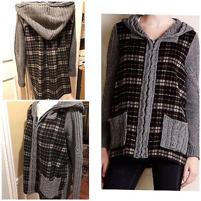 Moth By Anthropologie. Cable Knit Hooded Zippered Sweater/ Jacket, Wool Blend L