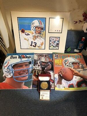 Dan Marino Collection Bronze Highland Mint Coin 3 Magazines Matted Art SI 13 HOF