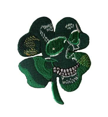 Skull Ghost Celtic Irish Clover Luck Embroidered Iron / Sew On Patch Badge Motif