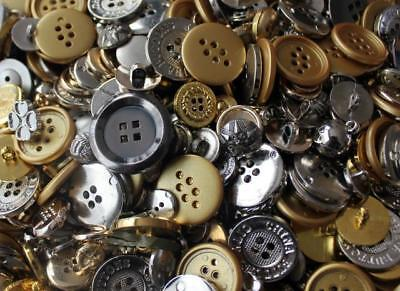 Mixed Gold Silver Effect Plastic Buttons Art Craft Sewing Scrapbook