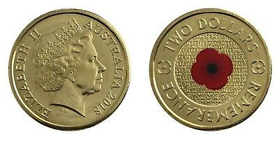 1 x 2018 $2 New UNC Australian $2 Coin Remembrance Red Poppy Coin. Low Mintage.