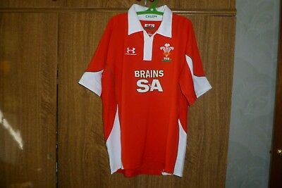 WRU Wales Rugby Union Under Armour Shirt Jersey Home 2008/2009/2010 Red Size L