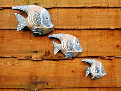 Fair Trade Hand Carved Made Wooden Tropical Fish Set Of 3 Wall Plaque Sculpture