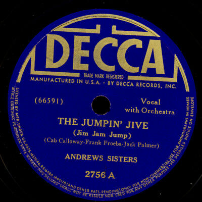 ANDREW SISTERS The Jumpin' Jive / Chico's Love Song 78rpm Schellackplatte  X3664