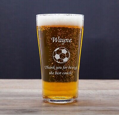 Personalised Engraved Tulip Pint Glass Football Awards For Trophy Gifts Sports