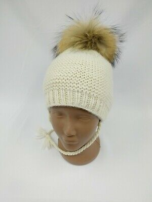 Hand Knitted Kids Winter Baby Hat Merino Wool Beanie Toddler Unisex Fur Pompon
