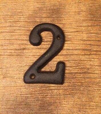 """Solid House Address Number TWO 3 1/2"""" tall Cast Iron 0184-13021-2"""