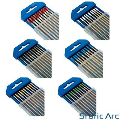 10pc TIG WELDING TUNGSTEN ELECTRODES RED/WHITE/GREY/BLUE/GOLD/GREEN 1.6mm/2.4mm