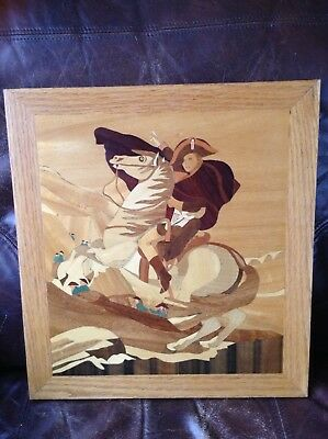 MARQUETRY WOODEN INLAY PICTURE (Napolean?)