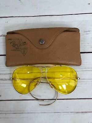 ccb6a91f0ad Vintage Bausch Lomb Ray Ban 1 10 12K Gold Filled Aviator Shooting Glasses  Yellow