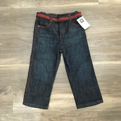 Wrangler Boys Size 3T Denim Jeans Dark Wash Straight Leg Adjustable Waist Red