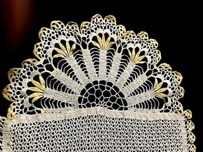 "Edwardian Gorgeous Off-white Crochet Lace Runner with Yellow Acent 27"" x 11 1/4"""