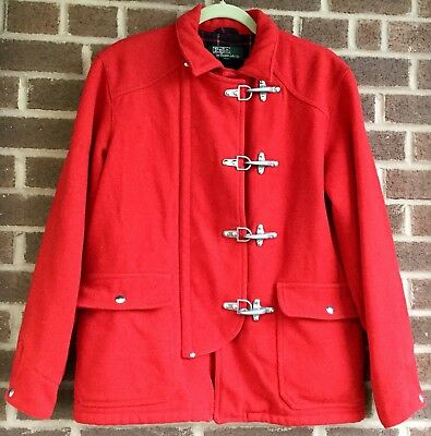 Vtg Ralph Lauren Polo red wool plaid lined fireman toggle closure coat Sz XL (M)