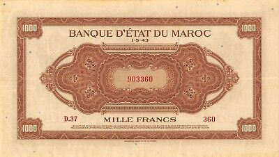 Morocco  1000  Francs   1.5.1943  P 28a  Series  D.37  Circulated Banknote