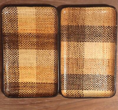 Set Of 2 MCM VTG Counterpoint Of San Francisco Nice Leatherette Trays