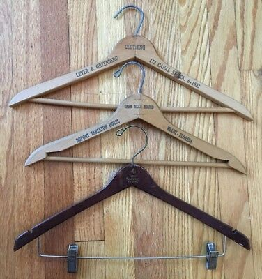 Wooden Vintage Hangers Set of 3 Including 2 Hotels + 1 Store
