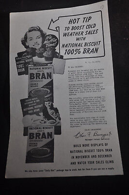 1941 Hot Tip to Boost Cold Weather Sales NABISCO 100% Bran