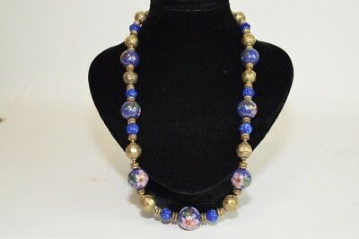 Chinese Cloisonne and Lapis Lazuli Bead Necklace