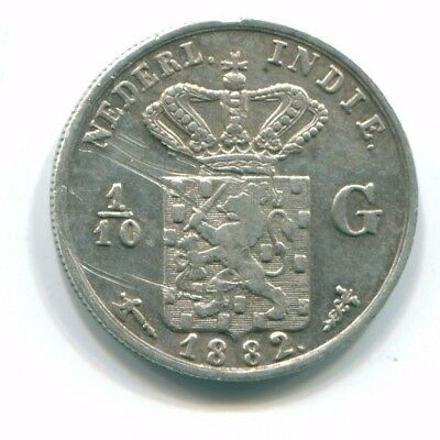 1882 Netherlands East Indies 1/10 Gulden Silver Colonial Coin Nl13173#3