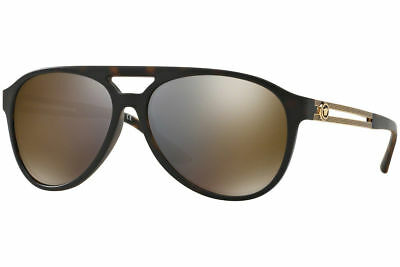 3715ae0adf84 New Versace VE4312 51814T 60mm Grey Mirror Gold Lens Tortoise   Gold Frame