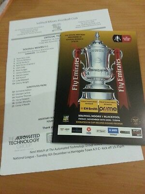 Solihull Moors V Blackpool 30th November 2018 FA Cup football programme +team sh