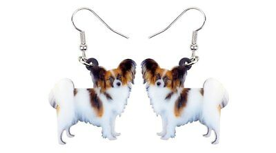 "Papillon Dog Puppy 1"" Drop Dangle Acrylic Earrings Very Light Weight Gift Boxed"