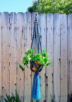 "Large Macrame Plant Hanger~Beautiful Sapphire~54"" Total~Twist/Square Knot"