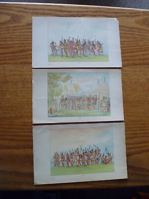 1840s Lithographs George Catlin-American Indians-Sioux Tribe-Ceremonial Dances