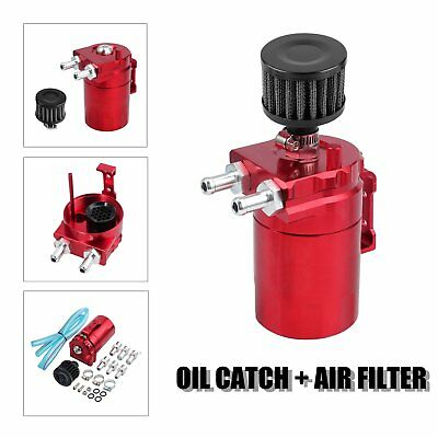 Red Oil Catch Can Tank Reservoir Breather Cylinder Aluminum Engine w/ Filter Kit