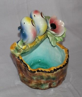 vintage blue bird planter ornament china or porcelain signed made in ITALY