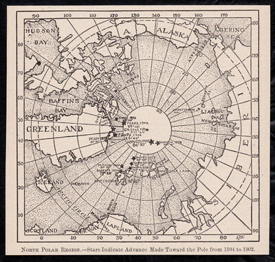 1904 Vintage maps Arctic & Antarctica b&w engraved illustration