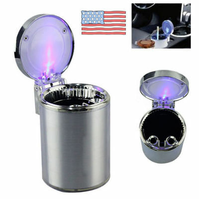 Car Travel Movable Blue LED Light Cigarette Ashtray Auto Ash Holder Cup Mini