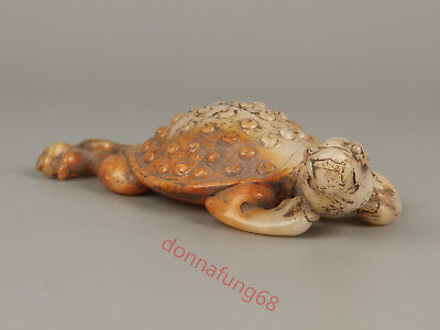 Chinese Exquisite Hand-carved tortoise Carving Hetian jade statue