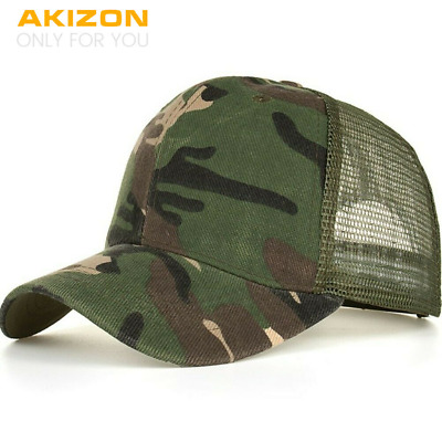 Camouflage Mesh Trucker Cap for Men - Camo Plain Mesh Trucker Hat Adjustable