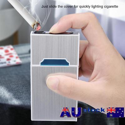 USB Charging 20pc Cigarettes Capacity Flameless Windproof Cigarette Case Lighter