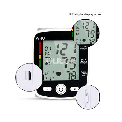 1X Automatic Wrist Blood Pressure Monitor LCD Digital Display Screen With Voice