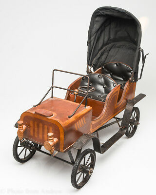 Antique Victorian Automobile - Vintage Baby Doll Carriage / Buggy Car Wood Rare!