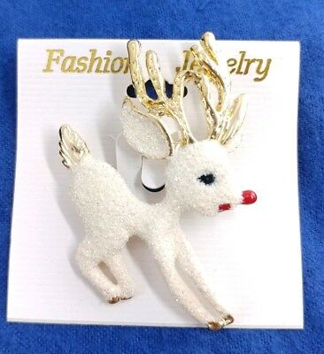 (W) Rudolph Red Nose Reindeer Deer Glitter HOLIDAY XMAS CHRISTMAS BROOCH PIN