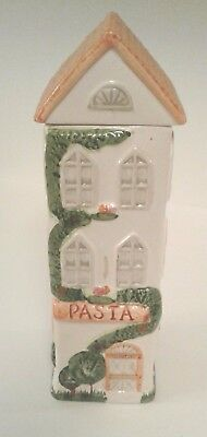 """Ceramic Pasta Spaghetti GREEN House canister container storage jar 12""""  vg cond."""