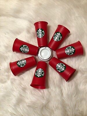 Lot Of 7 Starbucks Coffee 2018 Red Reusable Limited Edition Holiday 16oz Cups
