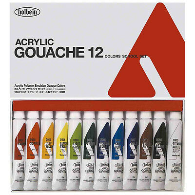 NEW Holbein Acryla Gouache School Set 12 colors 12ml tubes JAPAN F/S