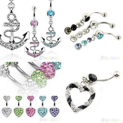 UK_ CN_ Dangly Crystal Belly Button Bars Surgical Steel Navel Rings Body Jewelle
