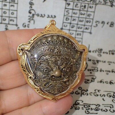God Phra Rahu Om Moon Ajarn Power Buddha Protect Brass Amulet Pendant