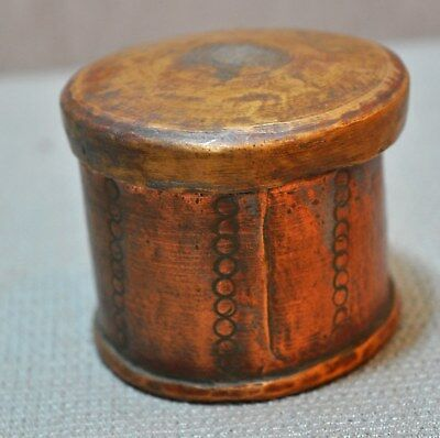 Old Vintage Collectible Hand Crafted Engraved Copper Betel Nuts Supari Box