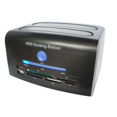 "2.5""3.5"" SATA IDE HDD Docking Station Dual Hard Disk Drive Dock ESATA USB Hub UK"